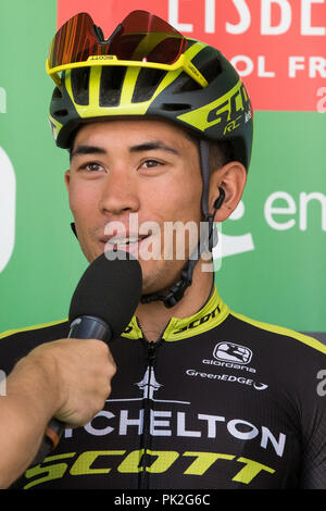 London, UK. 9th September, 2018. Mitchelton-Scott's Caleb Ewan, the eventual stage winner, is interviewed before the 77km London Stage (Stage 8) of the OVO Energy Tour of Britain cycle race. Credit: Mark Kerrison/Alamy Live News - Stock Photo