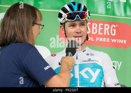 London, UK. 9th September, 2018. Team Sky's Chris Froome is interviewed before the 77km London Stage (Stage 8) of the OVO Energy Tour of Britain cycle race. Credit: Mark Kerrison/Alamy Live News - Stock Photo