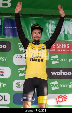 London, UK. 9th September, 2018. Former OVO Energy Green Jersey leader Primoz Roglic of Team Lotto NL - Jumbo finishes third overall in the 2018 OVO Energy Tour of Britain following the 77km London Stage (Stage 8). Credit: Mark Kerrison/Alamy Live News - Stock Photo