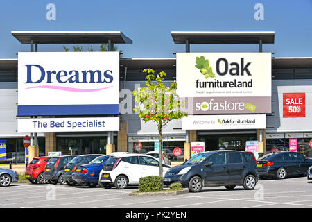 Dreams bed & Oak furniture sofa store sign for home furniture shopping free car park for shoppers at Lakeside retail park Thurrock Essex England UK - Stock Photo