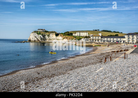 Looking across to Freshwater Bay and beach from the cliffs on the Isle of Wight in England - Stock Photo