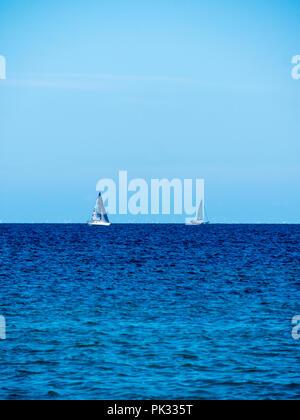 Sailing Baltic Sea, Møns Klint, Mon Island, Denmark, Europe. - Stock Photo