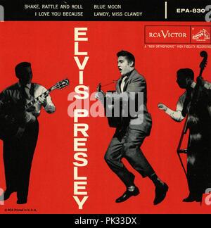vintage vinyl record album - Elvis Presley - I Love You Because - Stock Photo