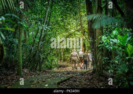 Tourists, Tenorio Volcano National Park, Costa Rica - Stock Photo
