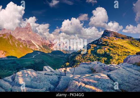 Panoramic views of the Pale di San Martino from Passo Rolle, Trentino - Dolomites, Italy. Cimon della Pala mountain ridge. - Stock Photo