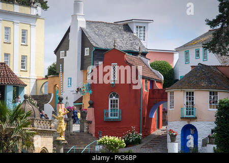 Portmeirion in North Wales, an Italianate model village built by its founder, architect Clough Williams-Ellis - Stock Photo