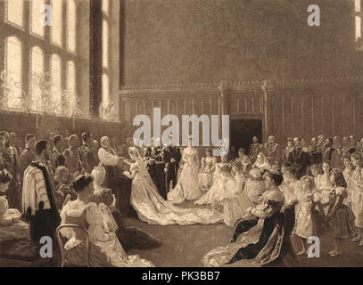 Wedding of Prince George, Duke of York, marriage to Princess Mary of Teck, St James' Palace, London, 6 July 1893 - Stock Photo