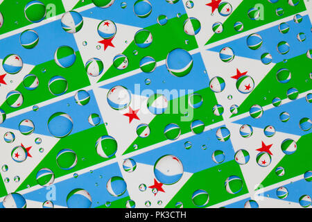 Flags  of Djibouti behind a glass covered with rain drops.Pattern from Djibouti flags. 3D illustration - Stock Photo