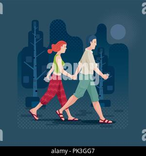 Young couple in love holding hands and walking in the park or forest. Vector illustration. Elements are layered separately in vector file. CMYK colors - Stock Photo