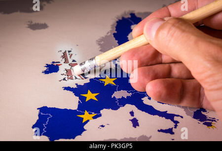 European Union Map with UK removed by pencil eraser, concept of Brexit as Britain vote to leave - Stock Photo