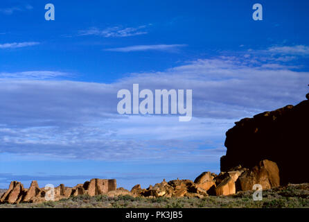 Anasazi ruins of Pueblo Bonito, Chaco Canyon, New Mexico. Photograph - Stock Photo