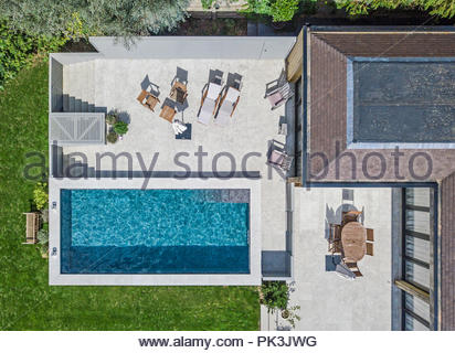 Private swimming pool viewed from above - Stock Photo