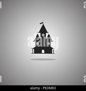 Castle Halloween. Vector illustration. Gray background with gradient. - Stock Photo