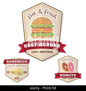 Vintage fast food badge, banner or logo emblem. Elements on the theme of the fast food business. Hamburger, sandwich, donuts, design, sticker or emble - Stock Photo