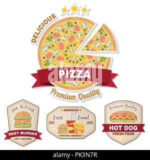 Vintage fast food badge, banner or logo emblem. Elements on the theme of the fast food business. Hamburger, pizza, hot dog, cola, french fries design, - Stock Photo