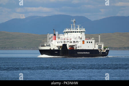 MULL, SCOTLAND, 25 JULY 2018: MV Coruisk sailing in the sound of Mull. It is a Caledonian Maritime Assets Ltd ferry built in 2003, - Stock Photo