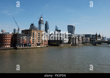 City of London, London England, Panoramic view from Millennium Bridge across the River Thames. Sept 2018 Showing the new 22 Bishopsgate being construc - Stock Photo