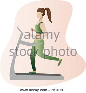 Fitness concept illustration of woman. Fitness and yoga girl icons isolated on white background. Flat design. - Stock Photo