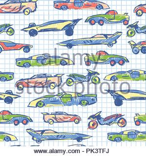 Abstract seamless pattern with hand drawn cute car. School collection. Cartoon cars vector illustration. Notebook paper pattern. Perfect for kids fabric,textile,nursery wallpaper - Stock Photo