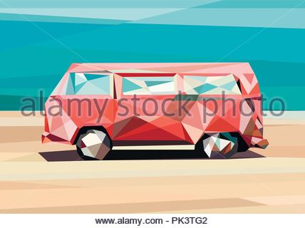 illustration in polygonal style, car on the sand, colorful car, low poly style - Stock Photo