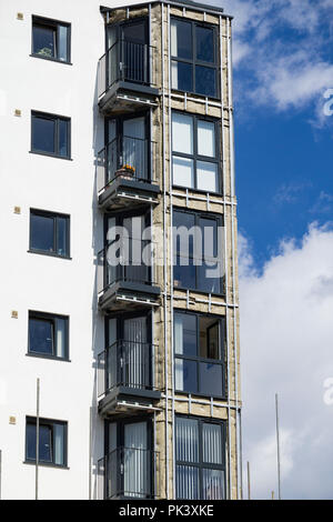 UK: Cladding being removed and replaced from tower blocks at Kennedy Gardens in Billingham, north east England. - Stock Photo