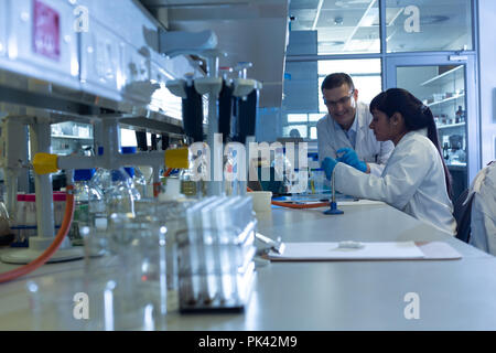Scientists experimenting in laboratory - Stock Photo
