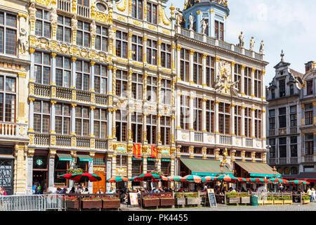 15th century architecture in Grand Place, Brussels, a UNESCO World Heritage site, Brussels, Belgium - Stock Photo