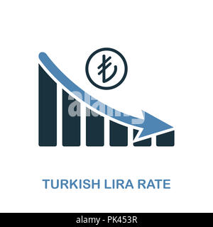 Turkish Lira Rate Decrease Graphic icon. Monochrome style design from diagram collection. UI. Pixel perfect simple pictogram turkish lira rate decreas - Stock Photo