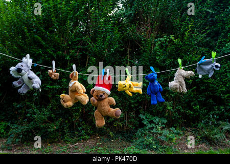 Teddy Bears and Glove Puppets Drying On A Washing Line, Lewes, East Sussex, UK - Stock Photo
