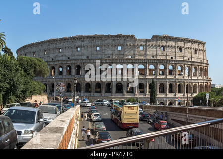 ROME, ITALY - JUNE 23, 2017: Amazing view of Colosseum in city of Rome, Italy - Stock Photo