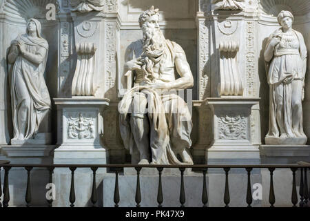 ROME, ITALY - JUNE 23, 2017:  Michelangelo's Moses, Statue in the basilica of Saint Peter in Chains (San Pietro in Vincoli ) in Rome, Italy - Stock Photo
