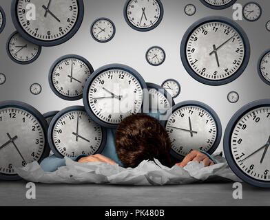 Overwork business stress concept tired at work as an exhausted  worker or employee overwhelmed by deadlines or workaholic businessman.