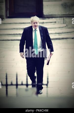 London, UK, 24th April 2018. Boris Johnson Secretary of State for Foreign Affairs arriving to Downing street ( Image digitally altered ) - Stock Photo