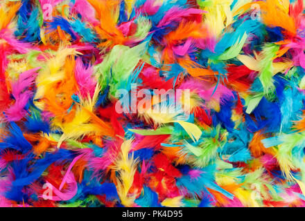 background texture of bright colorful feathers in rainbow colors - Stock Photo
