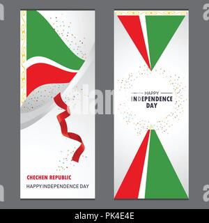 Chechen Republic Happy independence day Confetti Celebration Background Vertical Banner set - Stock Photo