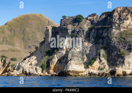 Rock formations on the northern part of the Pulau Padar Island in the Komodo National Park. - Stock Photo