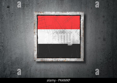 3d rendering of an old Republic of Yemen flag in a concrete wall - Stock Photo