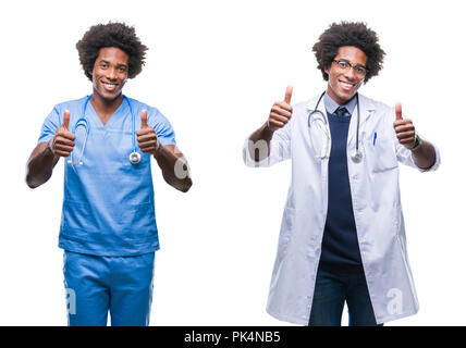 Collage of african american young surgeon, nurse, doctor man over isolated background approving doing positive gesture with hand, thumbs up smiling an - Stock Photo