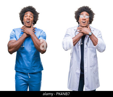 Collage of african american young surgeon, nurse, doctor man over isolated background shouting and suffocate because painful strangle. Health problem. - Stock Photo