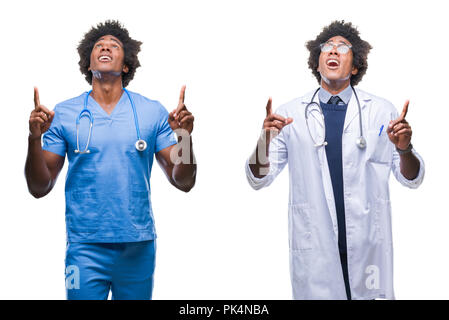 Collage of african american young surgeon, nurse, doctor man over isolated background amazed and surprised looking up and pointing with fingers and ra - Stock Photo