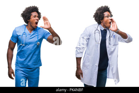 Collage of african american young surgeon, nurse, doctor man over isolated background shouting and screaming loud to side with hand on mouth. Communic - Stock Photo