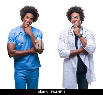 Collage of african american young surgeon, nurse, doctor man over isolated background looking confident at the camera with smile with crossed arms and - Stock Photo