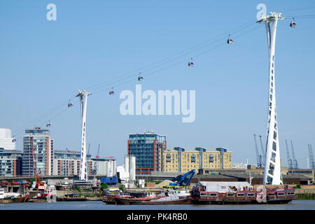 The Emirates Airline cable car, London, UK. - Stock Photo