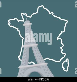 france culture card with eiffel tower vector illustration design - Stock Photo