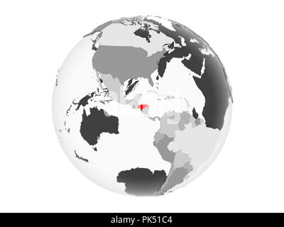 Honduras highlighted in red on grey political globe with transparent oceans. 3D illustration isolated on white background. - Stock Photo