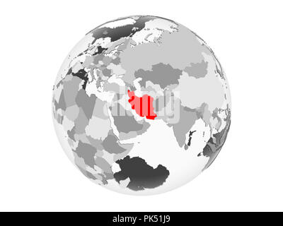 Iran highlighted in red on grey political globe with transparent oceans. 3D illustration isolated on white background. - Stock Photo