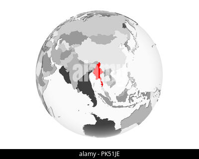 Myanmar highlighted in red on grey political globe with transparent oceans. 3D illustration isolated on white background. - Stock Photo