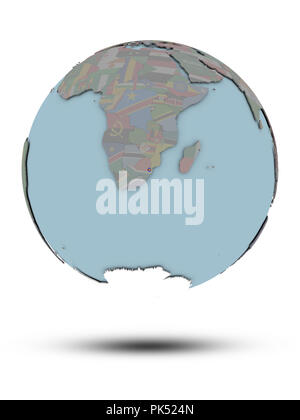 Swaziland with national flag on political globe with shadow isolated on white background. 3D illustration. - Stock Photo