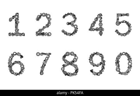 Numbers set made from hand tools. Nuts, bolts, pliers, screws, and other instruments. Vector illustration - Stock Photo
