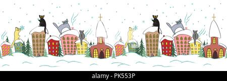 Cartoon christmas seamless design with cats in silhouettes sitting on the top of the roof watching snowflakes - Stock Photo